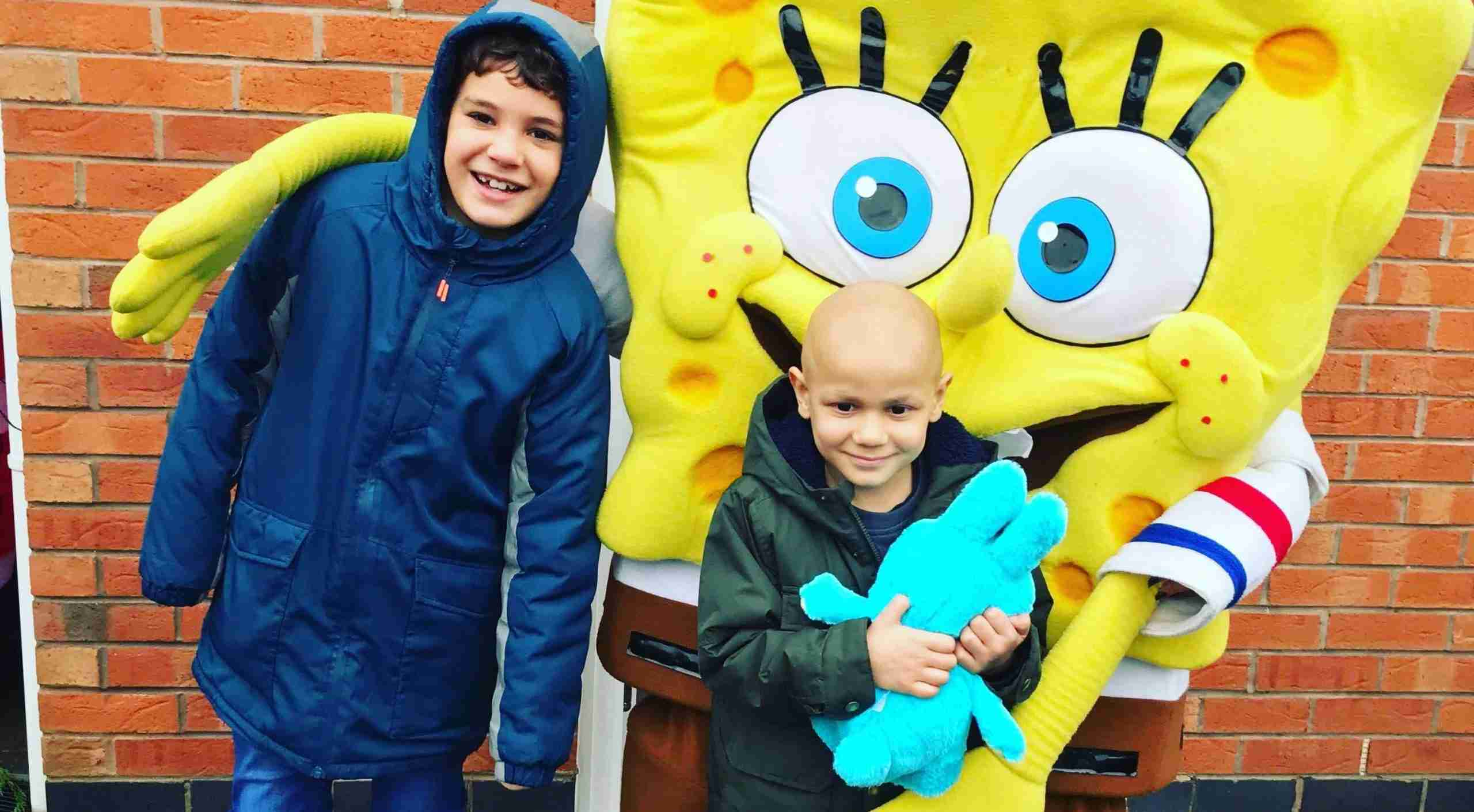 Cohen with his brother and spongebob