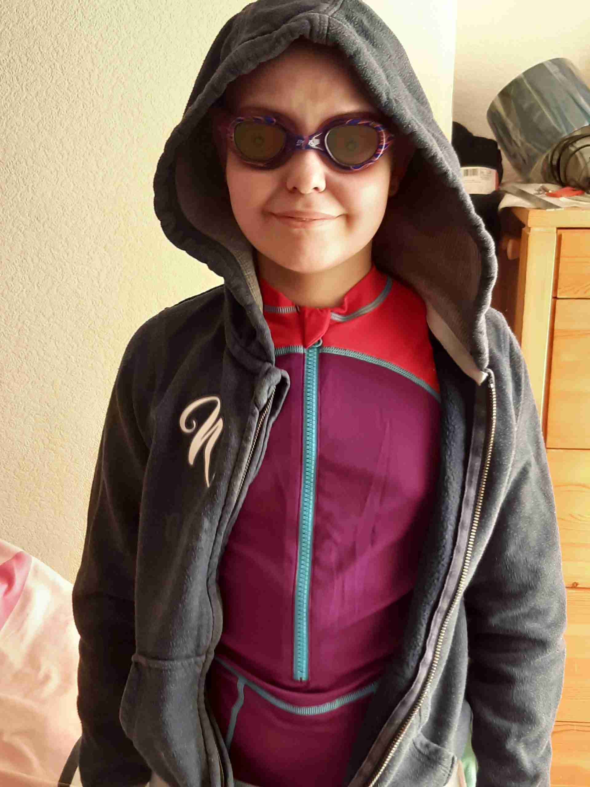 Jess in her swimming goggles