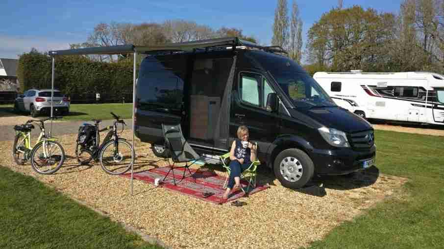 Joanna outside her campervan